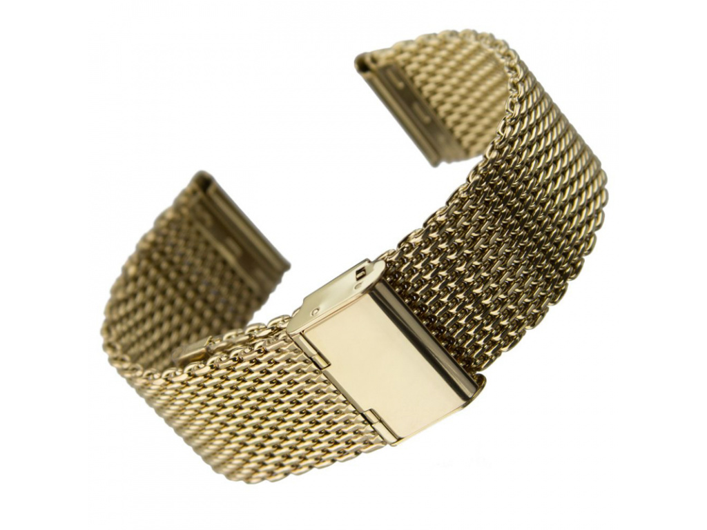 Geckota extra kvalitní masivní ocelový tah Milanese mesh zlatá