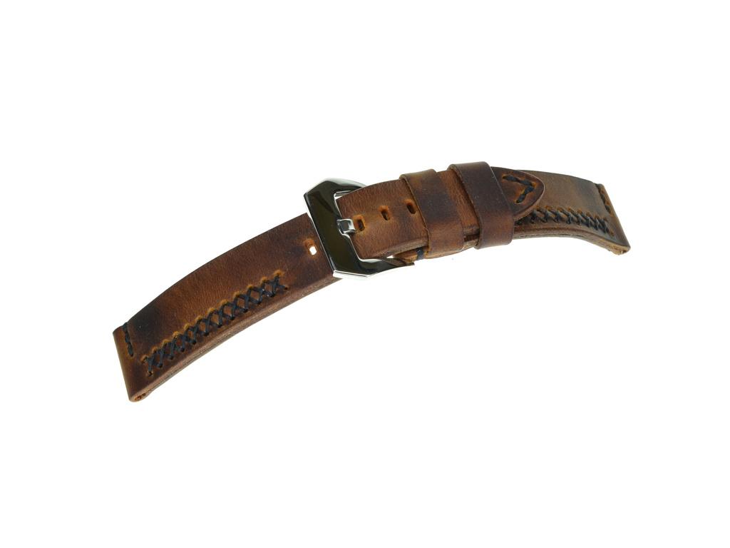 Vintage kožený ručně šitý hnědý řemínek