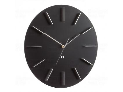 Elegantní černé nástěnné hodiny Future Time FT2010BK 40 cm