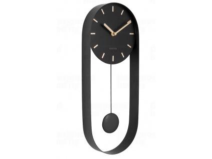 Designové kyvadlové nástěnné hodiny 5822BK Karlsson 50 cm