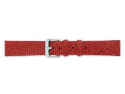 Mavex červený strukturovaný kožený pásek se vzorem ještěrky