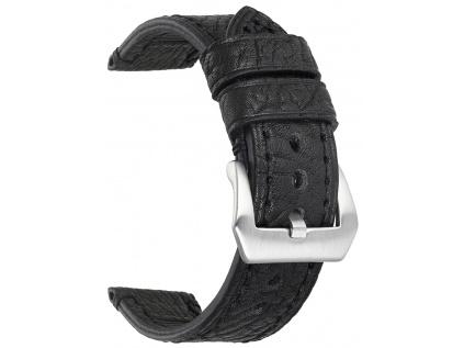 Černý kožený strukturovaný řemínek Solid