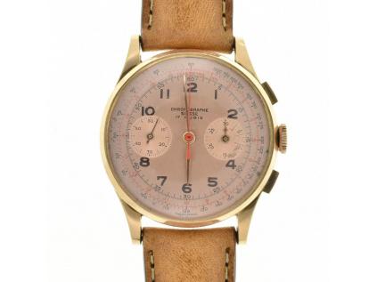 Starožitné zlaté hodinky Chronographe Suisse 50.-60. léta