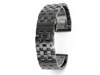 Černý luxusní masivní ocelový řemínek Solid PVD Black RZ55
