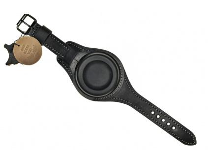 Ručně šitý černý kožený řemínek na kapesní hodinky