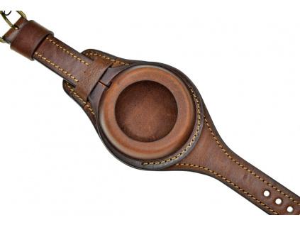 Ručně šitý hnědý kožený řemínek na kapesní hodinky