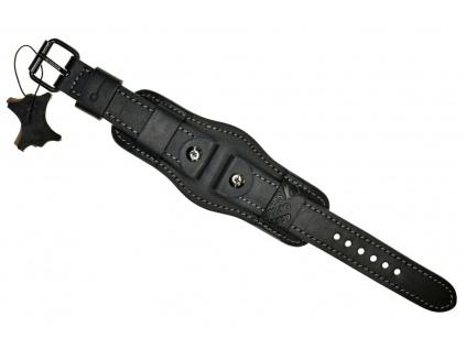 Ručně šitý černý vintage vojenský kožený řemínek