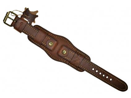 Ručně šitý tmavě hnědý vintage vojenský kožený řemínek
