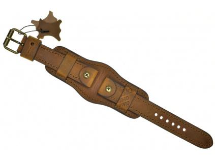 Ručně šitý světle hnědý vintage vojenský kožený řemínek