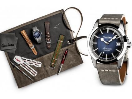Geckota E-01 ETA Sport Blue - Luxusní dárková sada hodinek