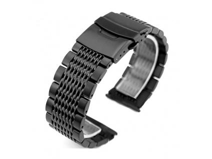 Černý luxusní masivní ocelový řemínek Solid PVD