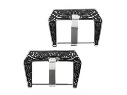 Ocelová přezka na řemínek hodinek s ornamenty