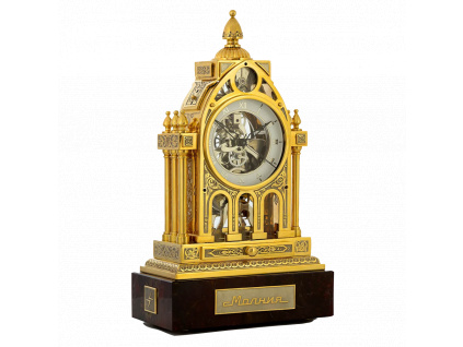 Stolní interiérové mechnické skeletové hodiny Molnija ze zlata, stříbra a niklu