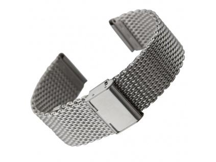 Geckota extra kvalitní masivní ocelový tah Milanese mesh stříbrná mat