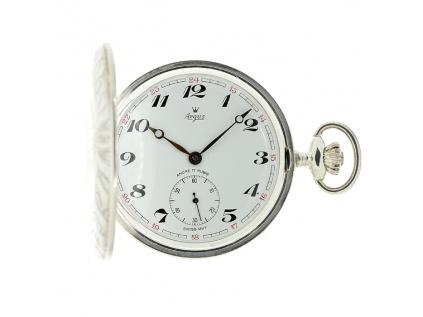 Luxusní švýcarské stříbrné kapesní hodinky ARGUS z let 1960-1970