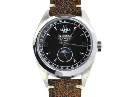 Alpha Moon Phases Black hodinky panske