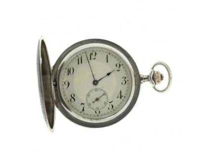 Kapesní 3 plášťové stříbrné hodinky zdobené tulou