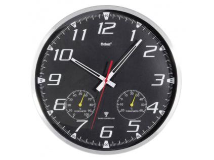 Analogové DCF nástěnné hodiny s teploměrem/vlhkoměrem