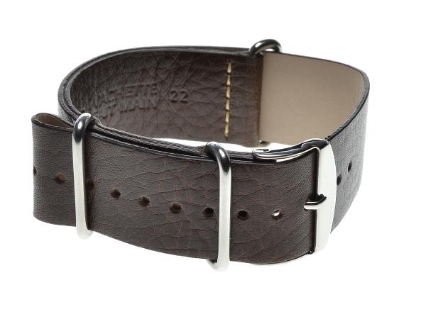 Speciální průvlekový, průvlekový pásek na hodinky ZULU, tmavě hnědý Šířka: 18 mm