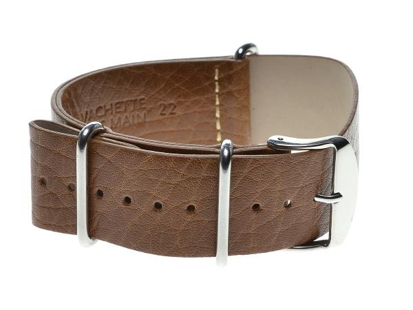 Speciální průvlekový pásek na hodinky ZULU, světle hnědý Šířka: 18 mm