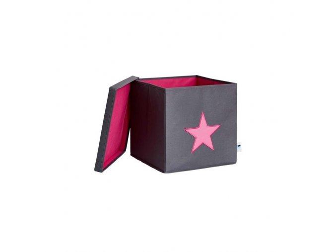 box s víkem šedá s růžovou hvězdou