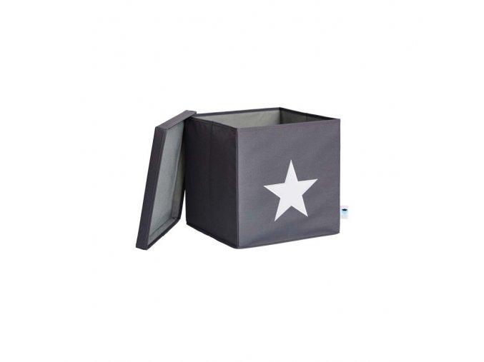 box s víkem šedá s bílou hvězdou