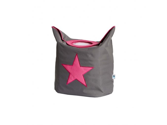 koš na prádlo šedá s růžovou hvězdou