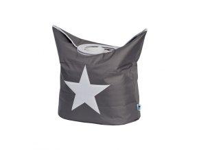 koš na prádlo šedá s bílou hvězdou