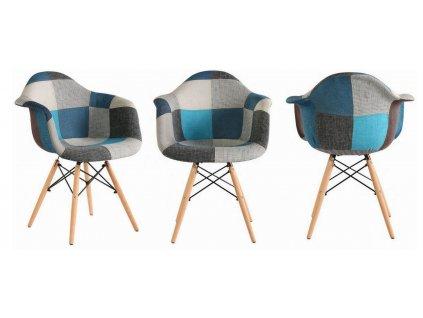 Jídelní židle Wave Patchwork modré 4 ks