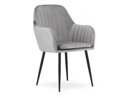 Sametová židle Warsaw stříbrno šedá