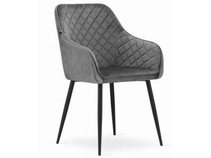 Sametová židle Budapest šedá