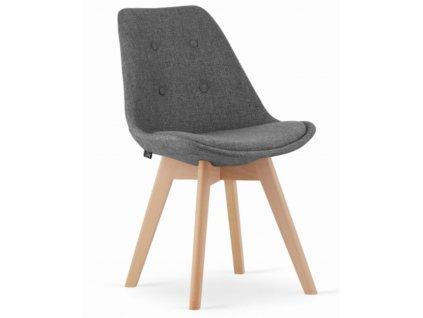 Jídelní židle London šedé s přírodními nohami 4 ks