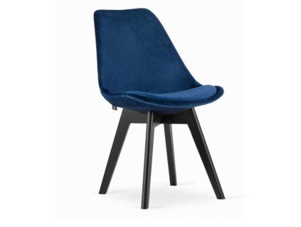 Sametové židle London modré s černými nohami 4 ks