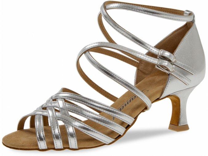 Taneční boty Diamant 108 stříbrná - 6,5 cm Flare