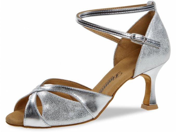 Taneční boty Diamant 141 stříbrná - 6,5 cm Flare