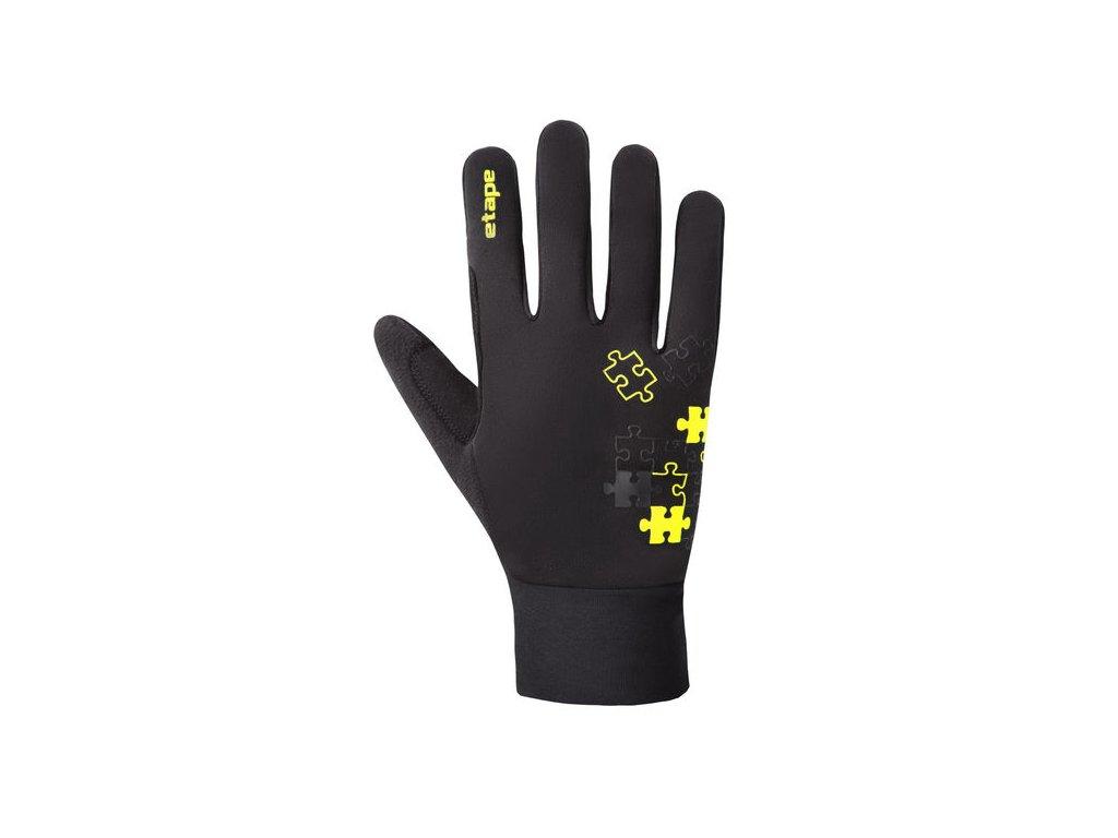 Etape - dětské rukavice PUZZLE WS, černá/žlutá fluo