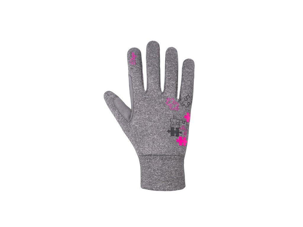 Etape - dětské rukavice PUZZLE WS, šedá melír/růžová