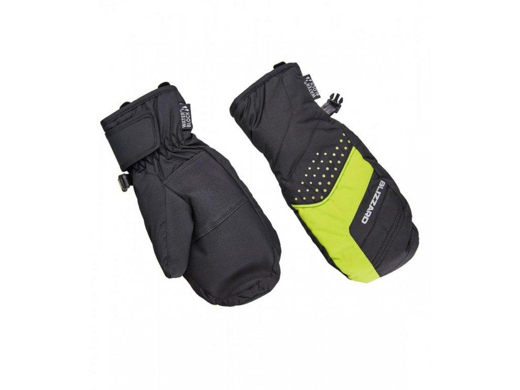BLIZZARD Mitten junior ski gloves, black/green