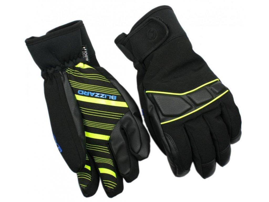 BLIZZARD Profi ski gloves, black/neon yellow/blue
