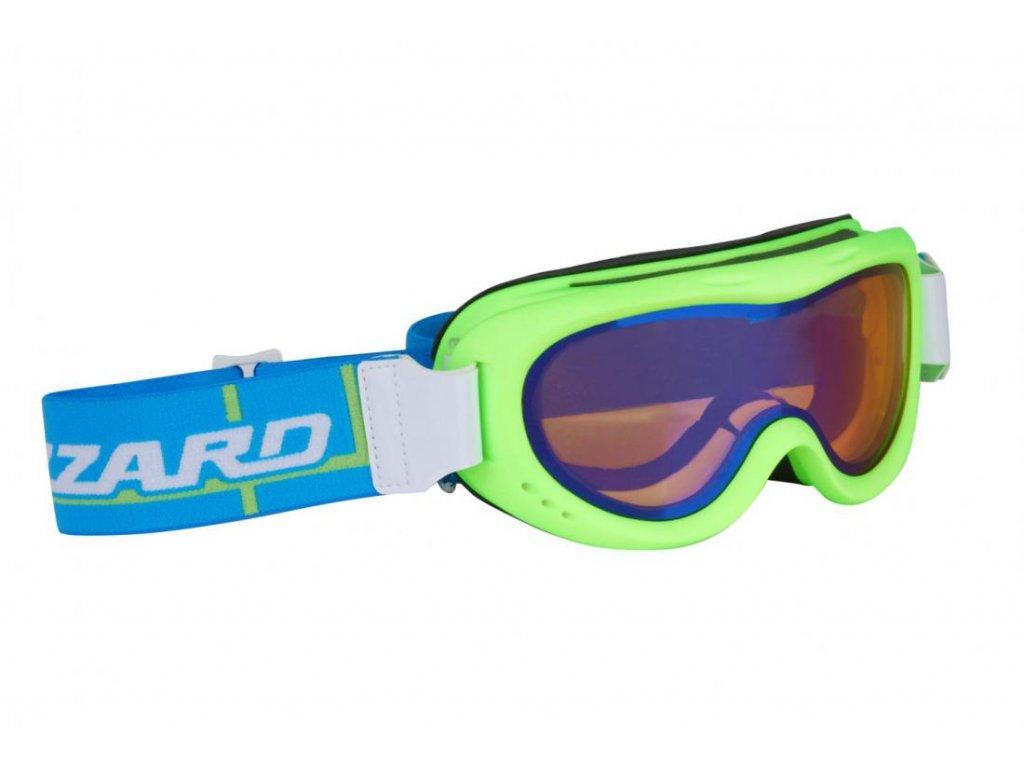 BLIZZARD Ski Gog. 907 MDAZO, neon green matt, amber2, blue mirror