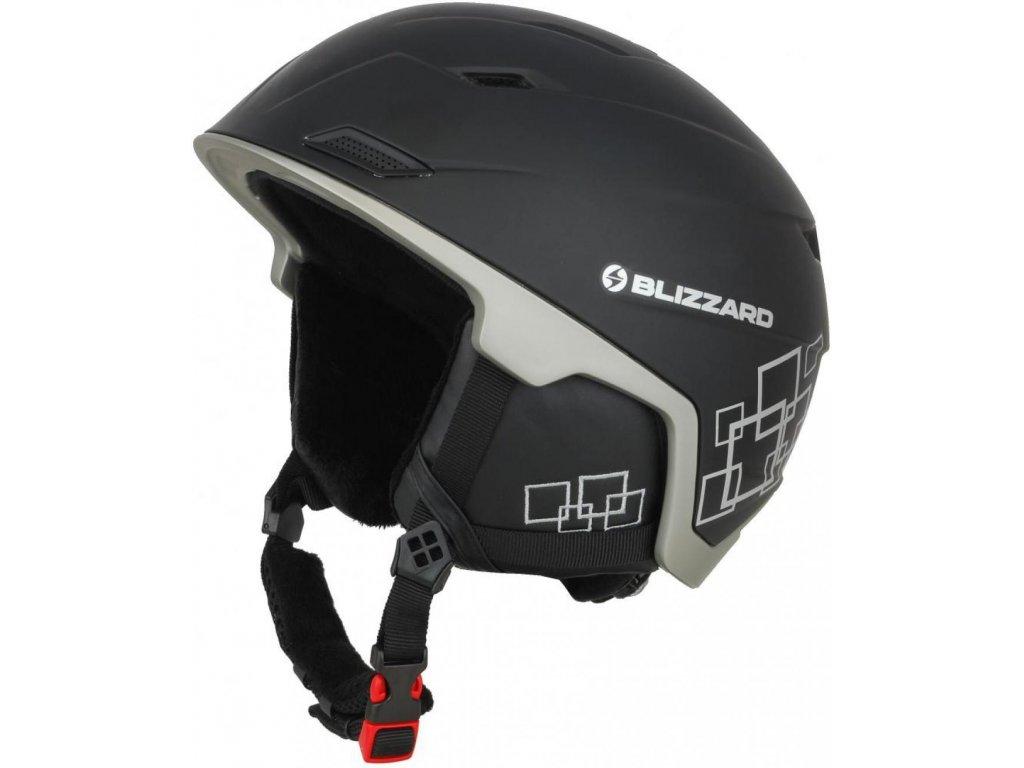 BLIZZARD Double ski helmet, black matt/gun metal/silver squares