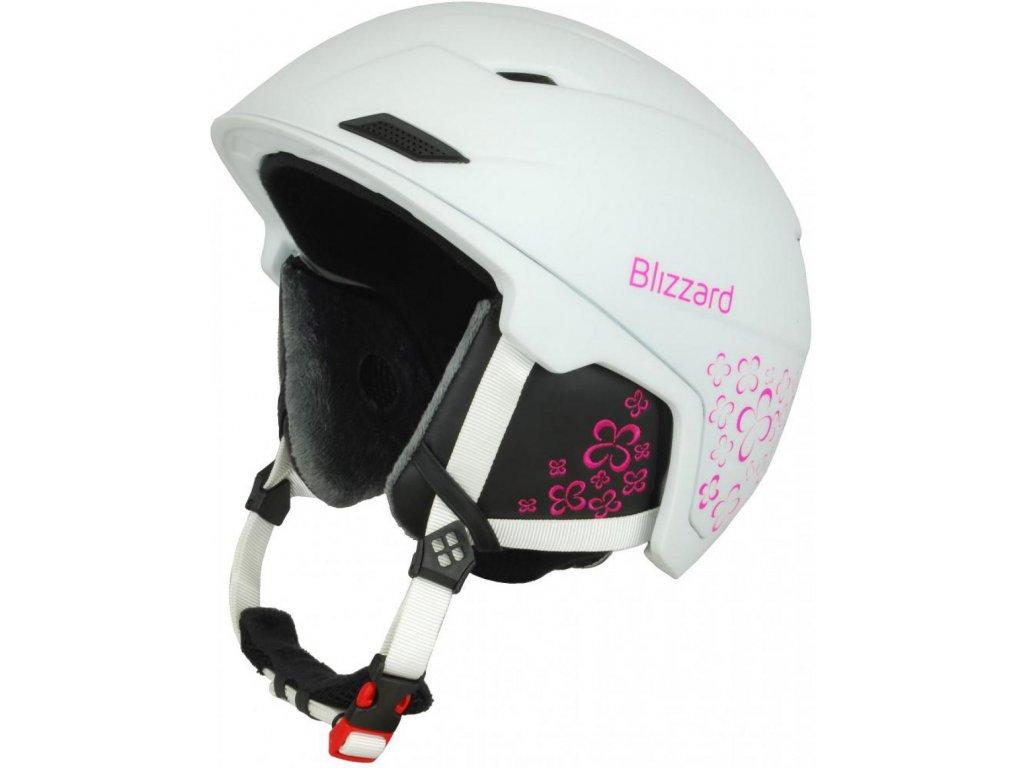 BLIZZARD Viva Double ski helmet, white matt/magenta flowers