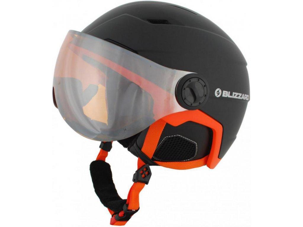 BLIZZARD Double Visor ski helmet, black matt/neon orange, big logo, orange lens,mirror