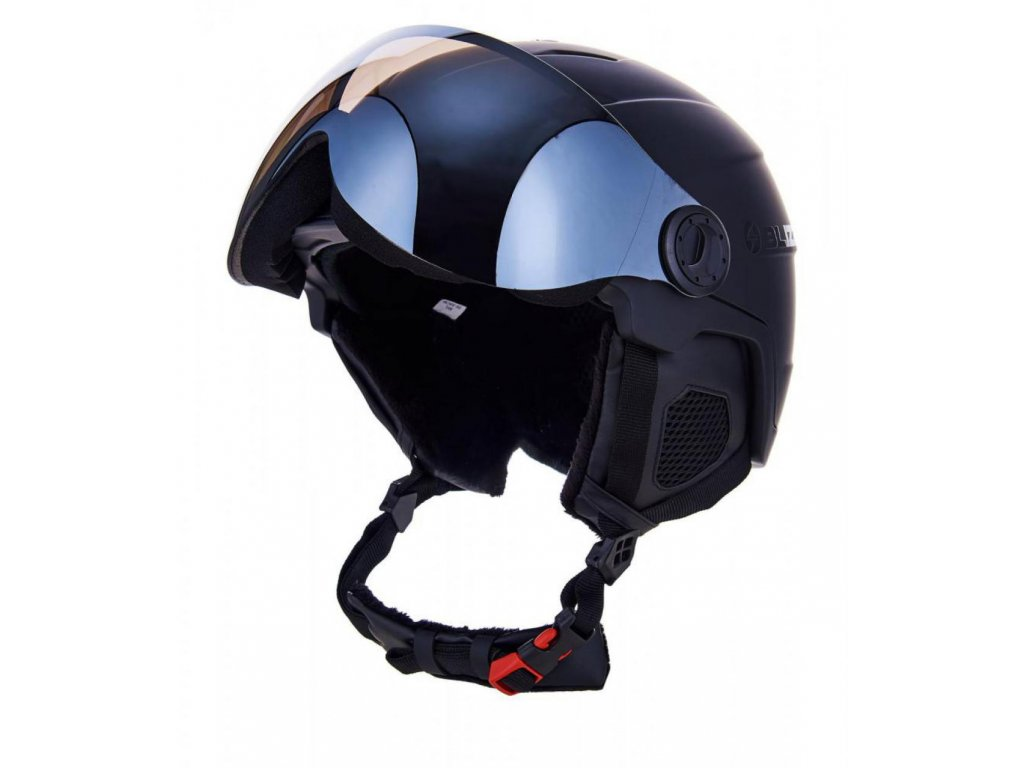 BLIZZARD Double Visor ski helmet, black matt, big logo, smoke lens, mirror