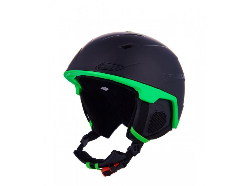 BLIZZARD Double ski helmet, black matt/neon green, big logo