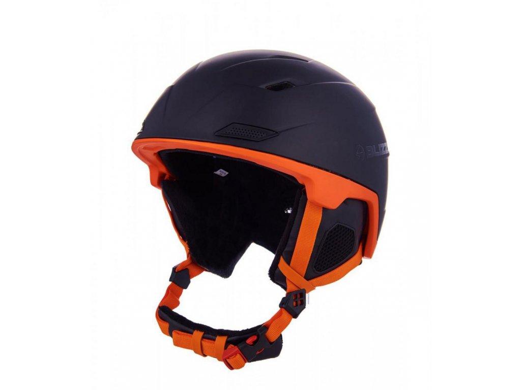 BLIZZARD Double ski helmet, black matt/neon orange, big logo