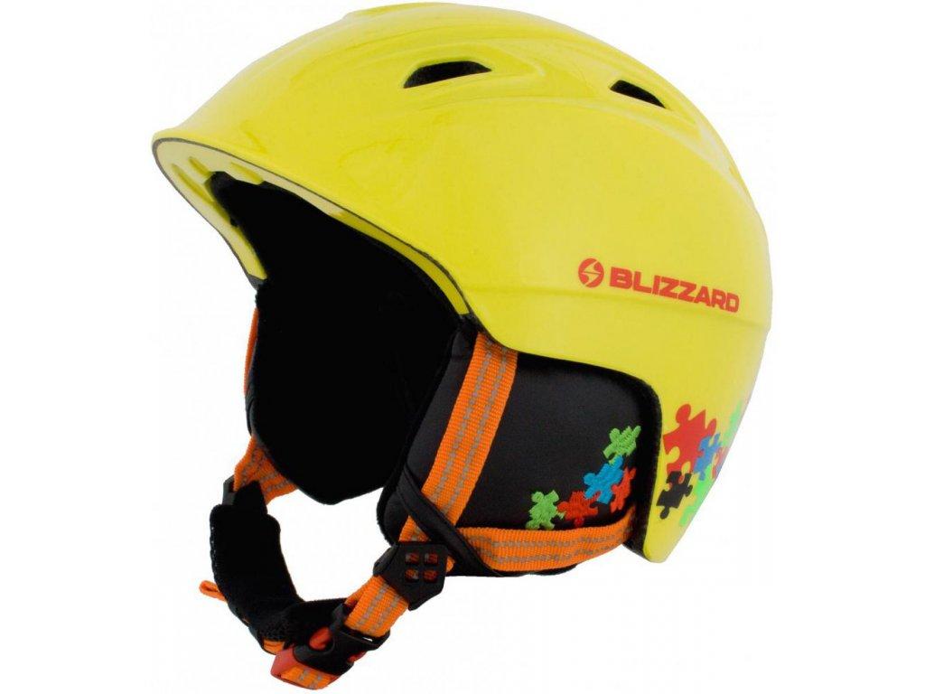 BLIZZARD Demon ski helmet junior, neon yellow/colorfull puzzles