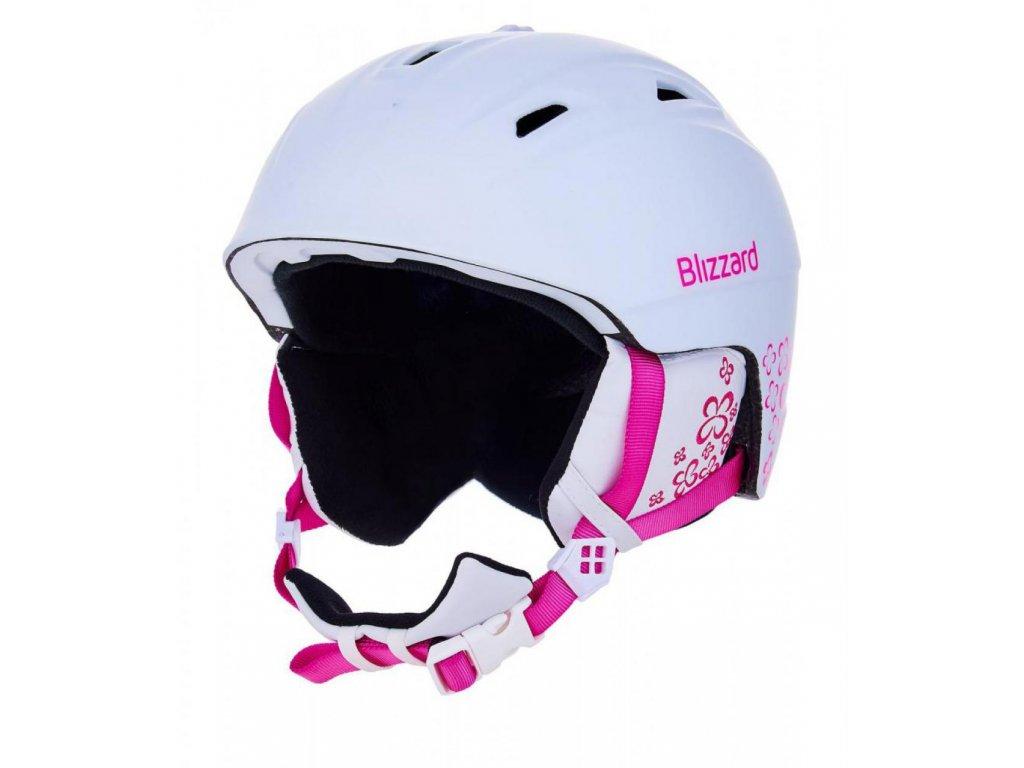 BLIZZARD Demon ski helmet junior, white matt/magenta flowers