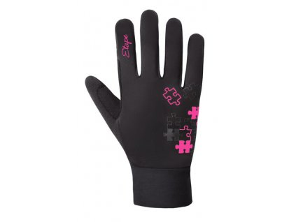 Etape – dětské rukavice PUZZLE WS, černá/růžová