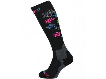 Viva Flowers ski socks, black/flowers junior